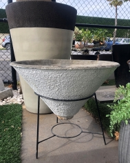 Mid Century Concrete Conical Pot with Stand