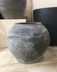 Large Grey Antique Chinese Pot