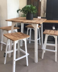 Industrial Bar Table & Stools White