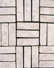 White Marble 3x9cm Parquetry