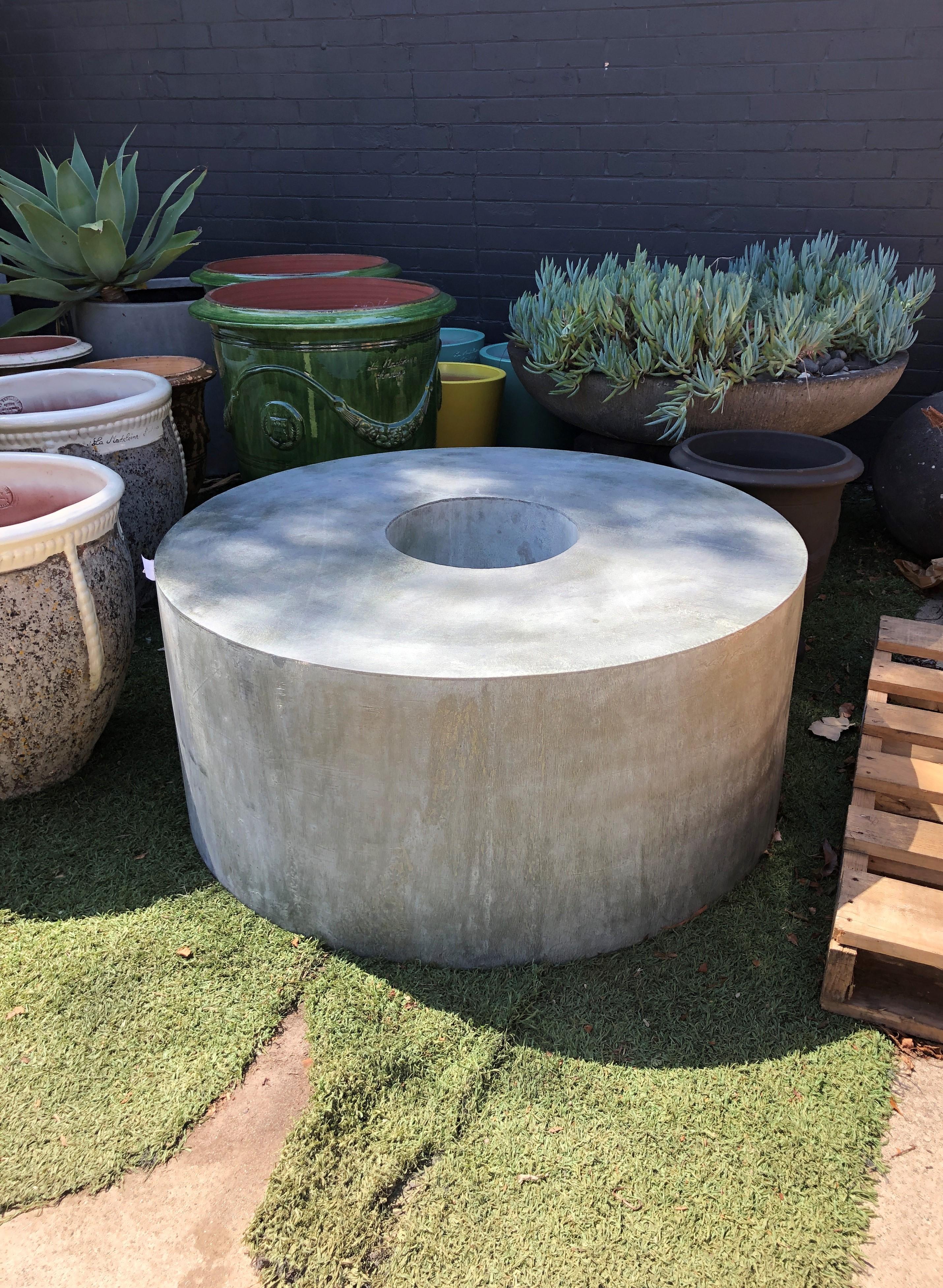 Round Bench with Vase